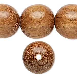 bead, wood (waxed), 20mm hand-cut round. sold per 16-inch strand.