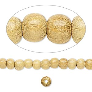 bead, wood (waxed), 4-5mm hand-cut round. sold per pkg of (2) 16-inch strands.