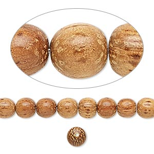 bead, wood (waxed), 5-6mm hand-cut round. sold per pkg of (2) 16-inch strands.