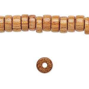 bead, wood (waxed), 8x3.5mm hand-cut rondelle. sold per 16-inch strand.