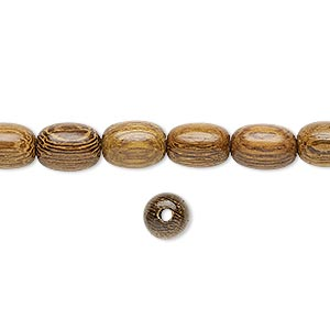 bead, wood (waxed), 9x6mm hand-cut oval. sold per 16-inch strand.