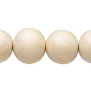 bead, wood (waxed), natural, 15-16mm round. sold per 16-inch strand.