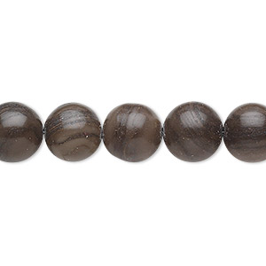 bead, woodgrain stone (natural), 10mm round, b grade, mohs hardness 3. sold per 16-inch strand.
