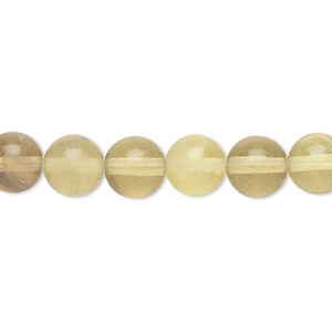 bead, yellow fluorite (natural), 8mm round, b grade, mohs hardness 4. sold per 16-inch strand.