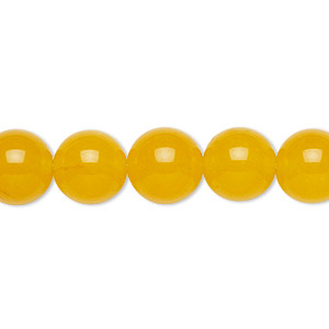 bead, yellow jade (dyed), 10mm round, b grade, mohs hardness 6-1/2 to 7. sold per 16-inch strand.