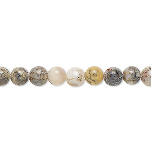 bead, yellow moss agate (natural), 6mm round, b grade, mohs hardness 6-1/2 to 7. sold per 16-inch strand.
