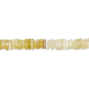 bead, yellow opal (natural), light to dark, 4x1mm-5x2mm hand-cut square rondelle, b grade, mohs hardness 5 to 6-1/2. sold per 8-inch strand, approximately 95-150 beads.