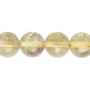 bead, yellow quartz (heated), 12mm round, c grade, mohs hardness 7. sold per 16-inch strand.
