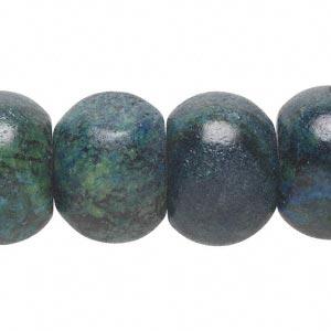 bead, yellow turquoise (dyed / coated), blue, 19x13mm-21x15mm rondelle, c grade, mohs hardness 2-1/2 to 6. sold per 16-inch strand.
