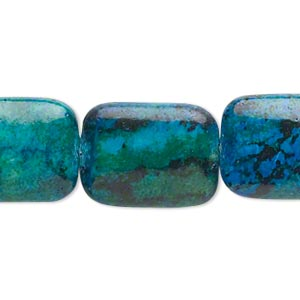 bead, yellow turquoise (dyed), blue and green, 20x15mm-21x16mm rectangle, c grade, mohs hardness 2-1/2 to 6. sold per 15-inch strand.