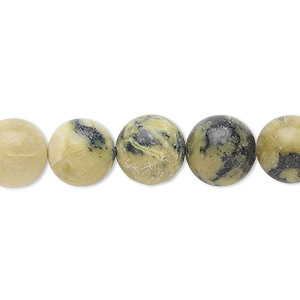 bead, yellow turquoise (natural), 10mm round, b- grade, mohs hardness 2-1/2 to 6. sold per 16-inch strand.