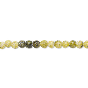 bead, yellow turquoise (natural), 4-5mm round, c grade, mohs hardness 5 to 6. sold per 15-inch strand.