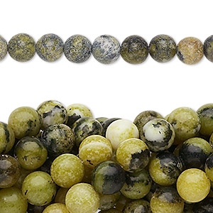 bead, yellow turquoise (natural), 6mm round, c grade, mohs hardness 2-1/2 to 6. sold per pkg of (10) 16-inch strands.