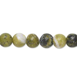 bead, yellow turquoise (natural), 7-9mm round, d grade, mohs hardness 2-1/2 to 6. sold per 15-inch strand.