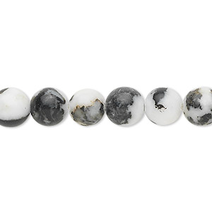 bead, zebra jasper (natural), 8mm round, b grade, mohs hardness 3. sold per 16-inch strand.