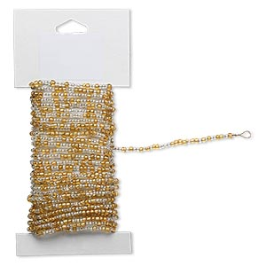beaded wire, glass and brass, silver-lined gold and clear, #9 and #6 round seed beads. sold per 15-foot card with hanging tab.