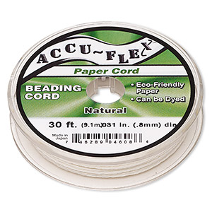 beading cord, accu-flex, paper, white, 4 strand, 0.8mm diameter. sold per 30-foot spool.