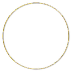 beading hoop, gold-finished steel, 9-inch closed round. sold per pkg of 2.
