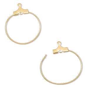 beading hoop, gold-plated brass, 20mm round with loop. sold per pkg of 10.