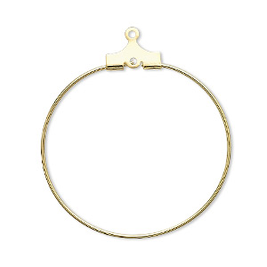 beading hoop, gold-plated brass, 30mm round with loop. sold per pkg of 100.