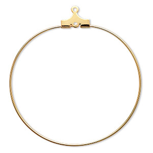 beading hoop, gold-plated brass, 40mm round with loop. sold per pkg of 100.