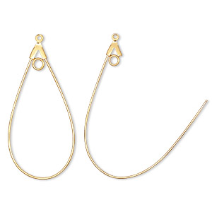 beading hoop, gold-plated brass, 40x22mm smooth teardrop with loop. sold per pkg of 480.