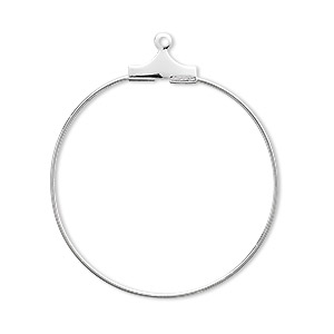 beading hoop, silver-plated brass, 30mm round. sold per pkg of 10.