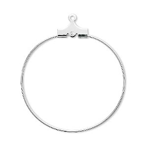 beading hoop, silver-plated brass, 30mm round with loop. sold per pkg of 500.