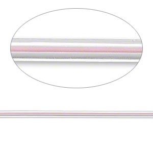 beading wire, accu-cord™, stainless steel and polyurethane, clear and blush pink, 7 strand, 2mm round. sold per 20-inch strand.