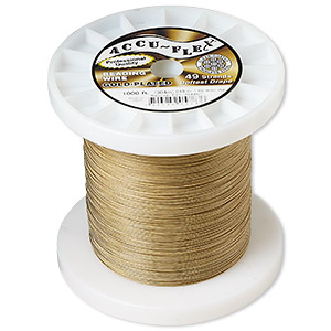 beading wire, accu-flex, nylon and 24kt gold-plated stainless steel, clear, 49 strand, 0.019-inch diameter. sold per 1,000-foot spool.