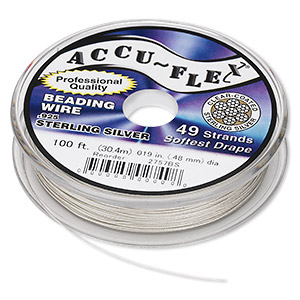 beading wire, accu-flex, nylon and .925 sterling silver, clear, 49 strand, 0.019-inch diameter. sold per 100-foot spool.