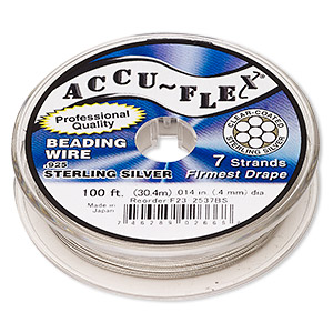 beading wire, accu-flex, nylon and .925 sterling silver, clear, 7 strand, 0.014-inch diameter. sold per 100-foot spool.