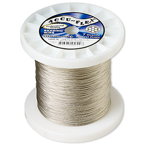 beading wire, accu-flex, nylon and .925 sterling silver, clear, 7 strand, 0.019-inch diameter. sold per 1,000-foot spool.