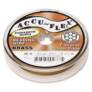 beading wire, accu-flex, nylon and brass, clear, 7 strand, 0.014-inch diameter. sold per 30-foot spool.