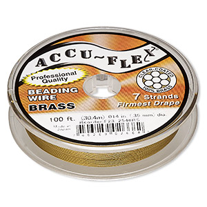 beading wire, accu-flex, nylon and brass, clear, 7 strand, 0.014-inch diameter. sold per 100-foot spool.