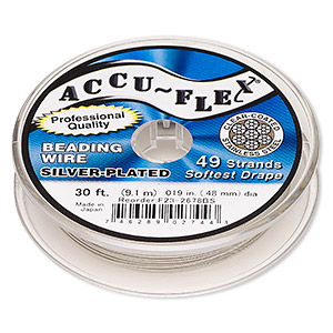 beading wire, accu-flex, nylon and silver-plated stainless steel, clear, 49 strand, 0.019-inch diameter. sold per 30-foot spool.