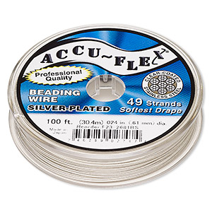 beading wire, accu-flex, nylon and silver-plated stainless steel, clear, 49 strand, 0.024-inch diameter. sold per 100-foot spool.