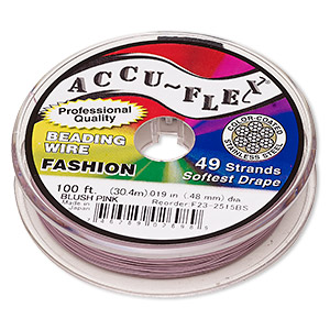 beading wire, accu-flex, nylon and stainless steel, blush pink, 49 strand, 0.019-inch diameter. sold per 100-foot spool.