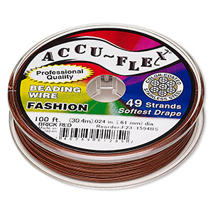 beading wire, accu-flex, nylon and stainless steel, brick red, 49 strand, 0.024-inch diameter. sold per 100-foot spool.