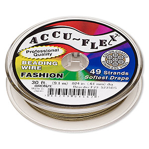 beading wire, accu-flex, nylon and stainless steel, bronze, 49 strand, 0.024-inch diameter. sold per 30-foot spool.