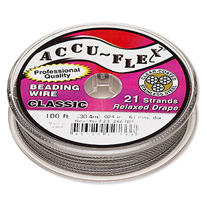 beading wire, accu-flex, nylon and stainless steel, clear, 21 strand, 0.024-inch diameter. sold per 100-foot spool.