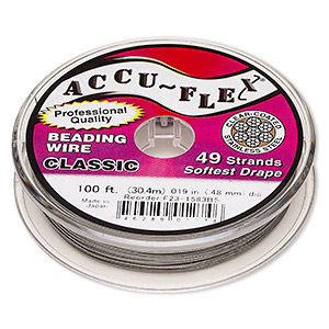 beading wire, accu-flex, nylon and stainless steel, clear, 49 strand, 0.019-inch diameter. sold per 100-foot spool.