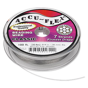 beading wire, accu-flex, nylon and stainless steel, clear, 7 strand, 0.014-inch diameter. sold per 100-foot spool.