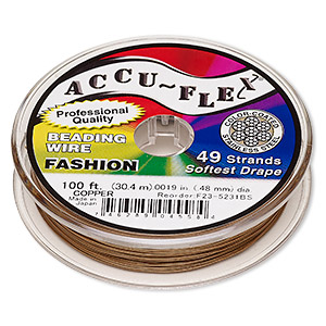 beading wire, accu-flex, nylon and stainless steel, copper, 49 strand, 0.019-inch diameter. sold per 100-foot spool.