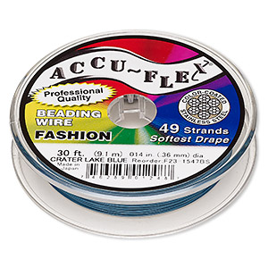 beading wire, accu-flex, nylon and stainless steel, crater lake blue, 49 strand, 0.014-inch diameter. sold per 30-foot spool.