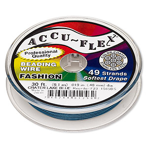 beading wire, accu-flex, nylon and stainless steel, crater lake blue, 49 strand, 0.019-inch diameter. sold per 30-foot spool.