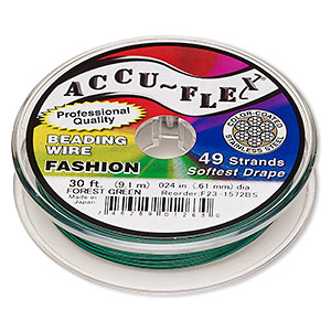 beading wire, accu-flex, nylon and stainless steel, forest green, 49 strand, 0.024-inch diameter. sold per 30-foot spool.