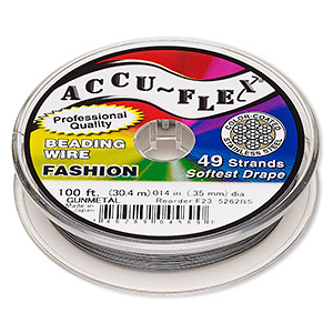 beading wire, accu-flex, nylon and stainless steel, gunmetal, 49 strand, 0.014-inch diameter. sold per 100-foot spool.