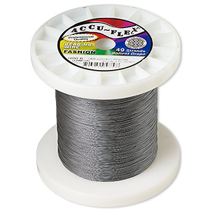 beading wire, accu-flex, nylon and stainless steel, gunmetal, 49 strand, 0.014-inch diameter. sold per 1,000-foot spool.