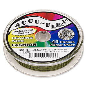 beading wire, accu-flex, nylon and stainless steel, khaki, 49 strand, 0.014-inch diameter. sold per 100-foot spool.